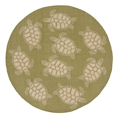 Lambert Seaturtle Green Indoor/Outdoor Area Rug Rug Size: Round 710