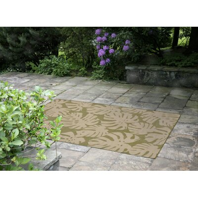 Lambert Fronds Power Loom Green Indoor/Outdoor Area Rug Rug Size: Round 710