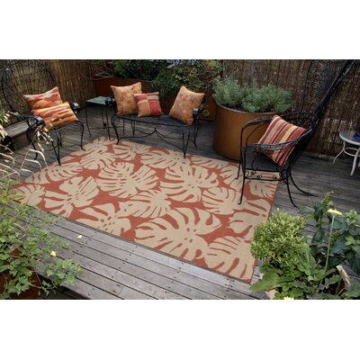 Lambert Fronds Power Loom Rust Indoor/Outdoor Area Rug Rug Size: Rectangle 111 x 211