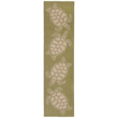 Lambert Seaturtle Green Indoor/Outdoor Area Rug Rug Size: Runner 111 x 76