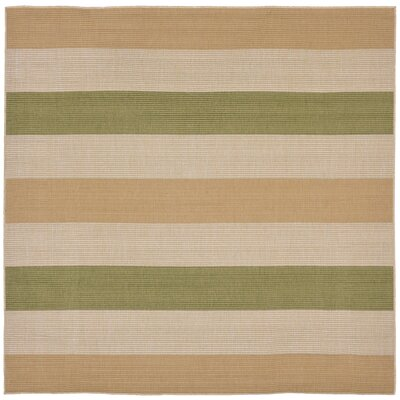 Lambert Multi Stripe Green Indoor/Outdoor Area Rug Rug Size: Square 710
