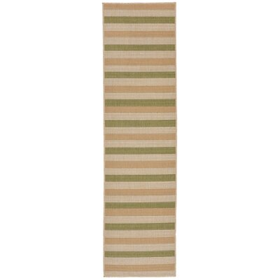 Lambert Multi Stripe Green Indoor/Outdoor Area Rug Rug Size: Runner 111 x 76