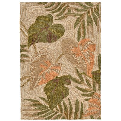 Demirhan Tropical Leaf Outdoor Rug Rug Size: Rectangle 2 x 3