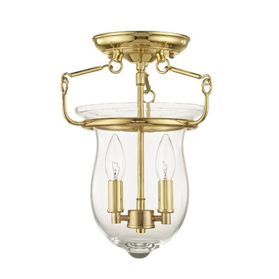 Brentwood 2-Light Semi-Flush Mount Finish: Polished Brass