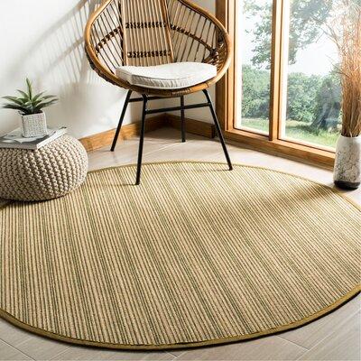 Nonatum Fiber Green Area Rug Rug Size: Round 6