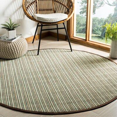 Penrock Fiber Teal/Brown Area Rug Rug Size: Round 6