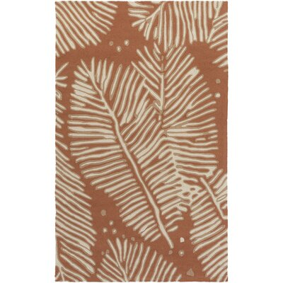 Fort Hand-Tufted Rust/Ivory Indoor/Outdoor Area Rug Rug Size: 2 x 3