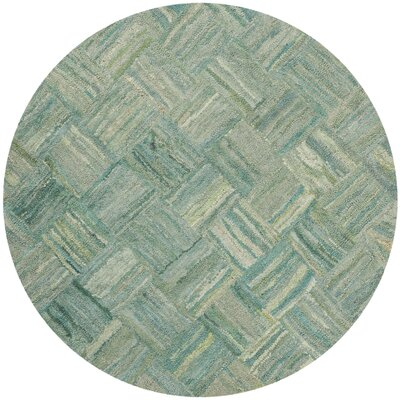 Millia Hand-Tufted Green Area Rug Rug Size: Round 6