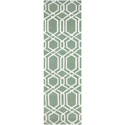 Wallingford Ariatta Sea Mist Hand-Woven Green/Beige Indoor/Outdoor Area Rug Rug Size: Runner 26 x 86