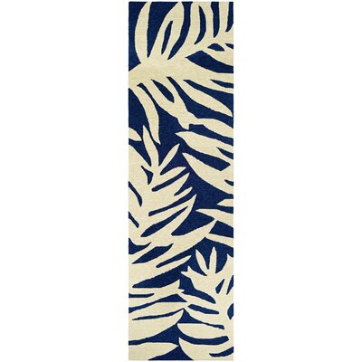 Amberjack Palms Hand-Woven Navy/Beige Indoor/Outdoor Area Rug Rug Size: Runner 26 x 86