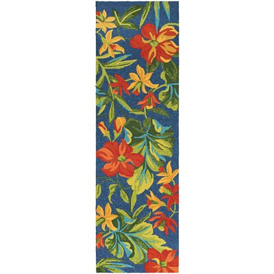 Amberjack Tropical Orchid Azure/Forest Hand-Woven Green/Blue Indoor/Outdoor Area Rug Rug Size: Runner 26 x 86