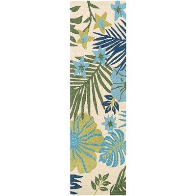 Amberjack Summer Laelia Hand-Woven Ivory/Fern Indoor/Outdoor Area Rug Rug Size: Runner 26 x 86