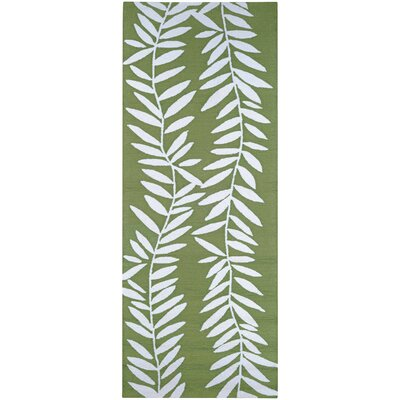 Wallingford Hand Hooked Lime/White Indoor/Outdoor Area Rug Rug Size: Runner 26 x 86