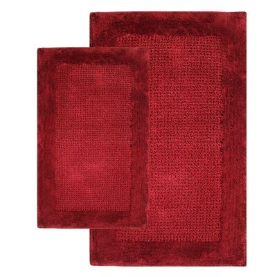 Naples 2 Piece Contemporary Bath Rug Set Color: Wine
