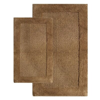 Naples 2 Piece Contemporary Bath Rug Set Color: Linen