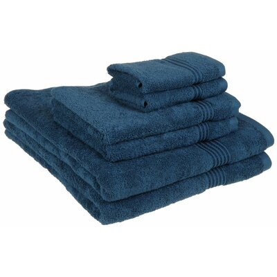 Superior 6 Piece Towel Set Color: Sapphire