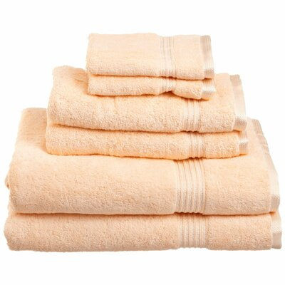 Currie 6 Piece Towel Set Color: Peach
