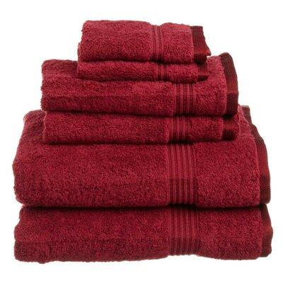 Superior 6 Piece Towel Set Color: Burgundy