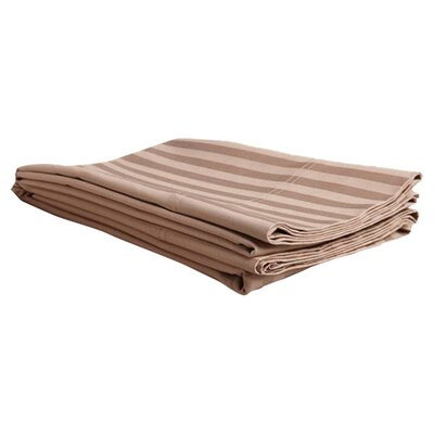 Egyptian Cotton Stripe Pillowcase Pair Size: King, Color: Taupe