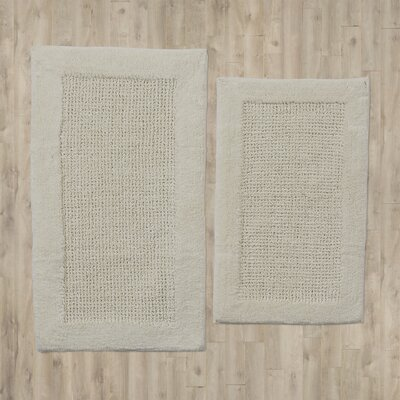 2 Piece Contemporary Bath Rug Set Color: Ivory