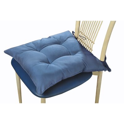 Polyester Microfiber Water and Stain Resistant Chair Pad Color: Smoke Blue