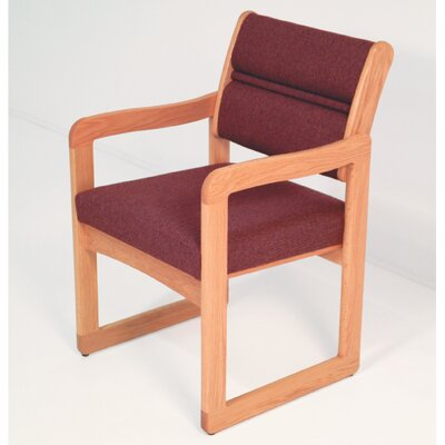 Guest Chair Wood Finish: Medium Oak, Fabric: Vinyl Green, Arms: Included