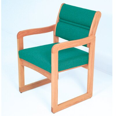 Guest Chair Wood Finish: Light Oak, Fabric: Foliage Green, Arms: Included
