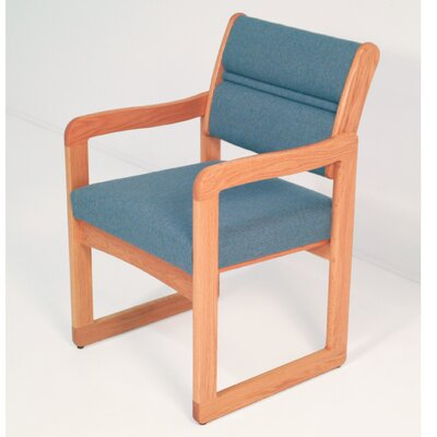 Guest Chair Wood Finish: Medium Oak, Arms: Included, Fabric: Vinyl Black