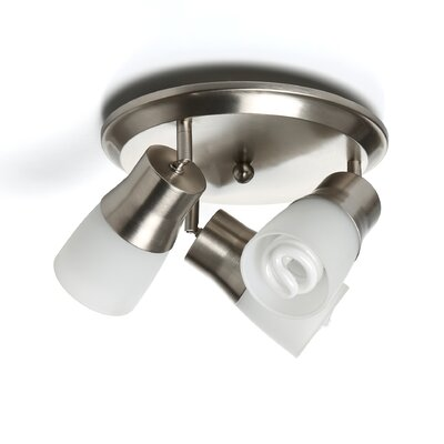 3-Light Semi Flush Mount Spot Light Finish: Brushed Nickel