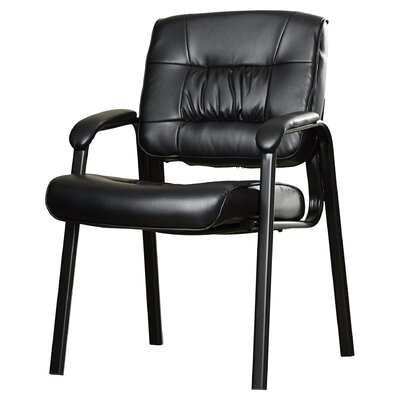 Leather Blend Guest Chair Frame Finish: Black metal frame, Leather Color: Burgundy