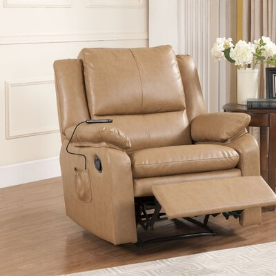 Quan Massage Power Recliner Color: Light Brown