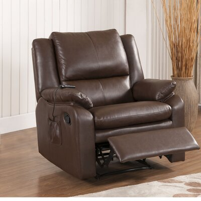 Quan Massage Power Recliner Color: Dark Brown