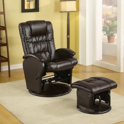 Leather Glider Recliner with Ottoman