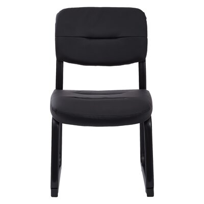 Faux Leather Visitors Chair with Sled Base Color: Black