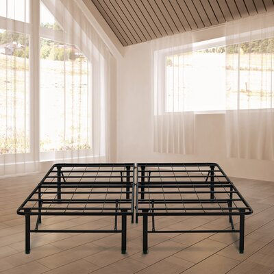 Black Metal Platform Bed Frame Size: Double
