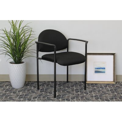 Contemporary Stackable Guest Chair Seat Finish: Black Fabric, Arms: With Arms