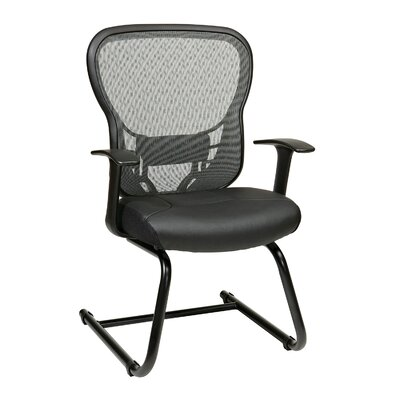 Back Eco Leather Guest Chair with Fixed Arms
