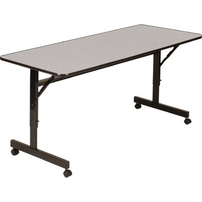 Flipper Training Table with Wheels Width: 72 W, Finish: Gray Granite