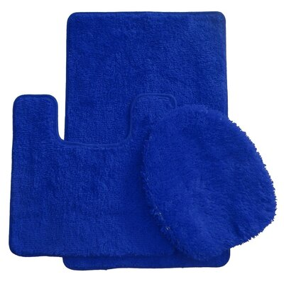 3 Piece Bath Rug Set Color: Navy