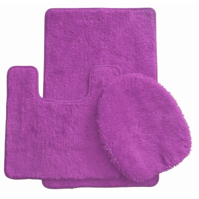 3 Piece Bath Rug Set Color: Purple