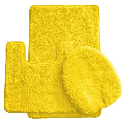 3 Piece Bath Rug Set Color: Yellow