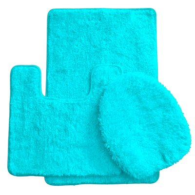 3 Piece Bath Rug Set Color: Turquoise