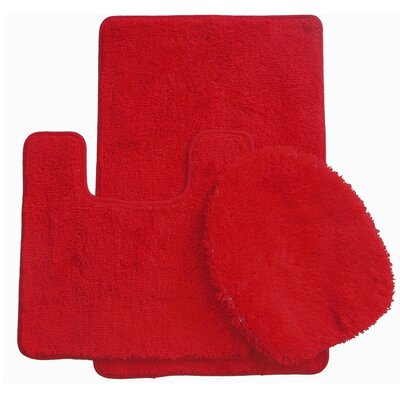 3 Piece Bath Rug Set Color: Red