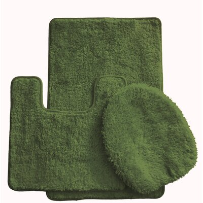 3 Piece Bath Rug Set Color: Olive Green