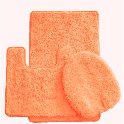 3 Piece Bath Rug Set Color: Peach