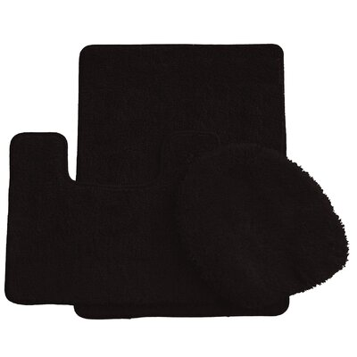 3 Piece Bath Rug Set Color: Black