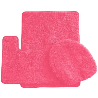 3 Piece Bath Rug Set Color: Rose