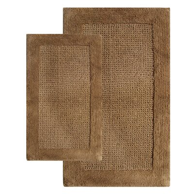 2 Piece Contemporary Bath Rug Set Color: Linen