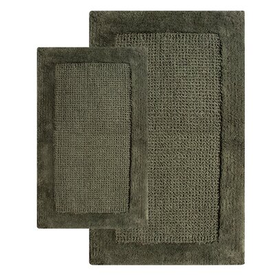 2 Piece Contemporary Bath Rug Set Color: Peridot