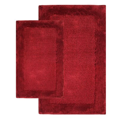 2 Piece Contemporary Bath Rug Set Color: Wine